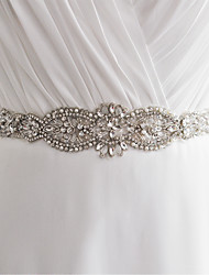 Satin Wedding Party/ Evening Sash With Rhinestone Beading Imitation Pearl Sequins