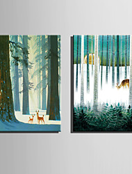 canvas Set Paisagem / Animal Estilo Europeu,2 Painéis Tela Vertical Impressão artística wall Decor For Decoração para casa