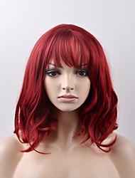 Недорогие -Парики из искусственных волос Жен. Естественные волны Красный Искусственные волосы Красный Парик Короткие Без шапочки-основы Красный