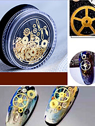 cheap -1 Box Nail New Sole Diy Time Gear Steampunk Wind Mechanical Nail Patch Ornament