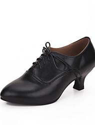 cheap -Women's Modern Cowhide Heel Outdoor Cuban Heel Black Red Customizable