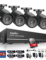 cheap -SANNCE® 8CH 4 in 1 720P HDMI AHD CCTV DVR 4PCS 1.0 MP IR Outdoor Security Bullet Camera Surveillance System Built-in 1TB HDD