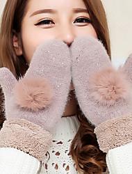 Недорогие -женщин кролика волосы шарика шерсти овечки кончиков пальцев длина запястья животного печать милые зимние перчатки