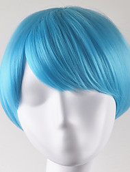 abordables -Pelucas sintéticas Recto Corte Bob Pelo sintético Azul Peluca Mujer Corta Sin Tapa