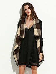 cheap -Women's Chic & Modern Coat-Color Block,Check Pattern