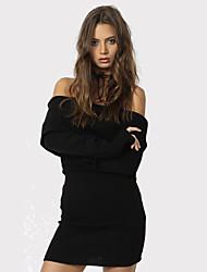 Moulante Robe Femme Décontracté / Quotidien / Soirée Sexy,Couleur Pleine Bateau Au dessus du genou Manches Longues Noir / Gris Polyester