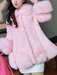 baratos -Feminino Casaco de Pêlo Casual SimplesSólido Rosa / Branco Pêlo de Raposa / Pêlo de Coelho RexManga Longa