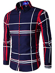 cheap -Men's Casual Cotton Slim Shirt - Plaid Button Down Collar