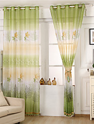 Rod Pocket One Panel Curtain Modern , Print Leaf Kids Room Poly / Cotton Blend Material Sheer Curtains Shades Home Decoration