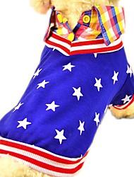 Gato Cachorro Camiseta Roupas para Cães Algodão Primavera/Outono Verão Casual Fashion Estrelas Vermelho Azul Para animais de estimação