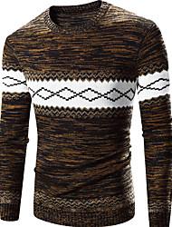 Standard Pullover Da uomo-Casual Attivo Tinta unita Monocolore Blu Rosso Rotonda Manica lunga Cotone Poliestere Primavera Medio spessore