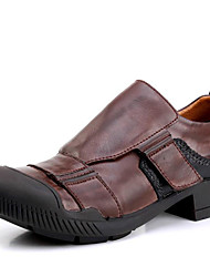 Masculino sapatos Pele Napa Primavera Verão Outono Inverno Conforto Oxfords Para Casual Festas & Noite Castanho Escuro