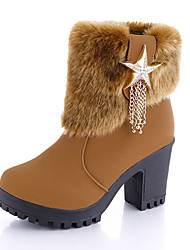 cheap -Women's Shoes PU(Polyurethane) Winter Comfort / Combat Boots Boots Walking Shoes Chunky Heel Round Toe Chain Black / Light Brown