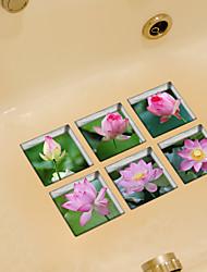 Lotus 3D Bathroom Non-Slip Stickers The Floor Tile Individuality Decorative Stickers