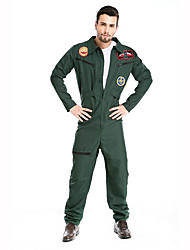 cheap -Soldier Cosplay Costume Party Costume Male Christmas Halloween Festival / Holiday Halloween Costumes Green Print