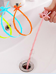 cheap -Smiling Face Sewer Hair Cleaning Device The Bathroom Sink Drain Cleaning Hook 51*0.5CM Random Color