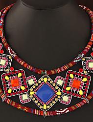 cheap -Women's Geometric Bohemian European Collar Necklace Synthetic Gemstones Resin Alloy Collar Necklace , Party Daily