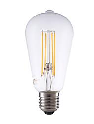 cheap -6W E27 LED Filament Bulbs ST64 4 COB 600 lm Warm White Dimmable / Decorative AC 220-240 V 1 pcs
