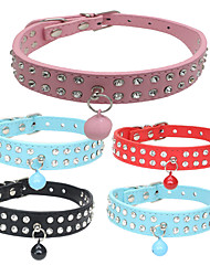 cheap -Dog Collar Adjustable / Retractable Soft Strobe/Flashing Handmade With Bell Rhinestone Rock PU Leather Black Red Blue Pink