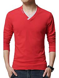 Men's Fashion Slim V-Neck Long Sleeved T-Shirt Solid V Neck Long Sleeve Red / White / Black / Gray / Green Cotton / Spandex