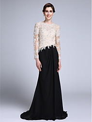 cheap -Mermaid / Trumpet Jewel Neck Sweep / Brush Train Chiffon Mother of the Bride Dress 617 Appliques by LAN TING BRIDE®