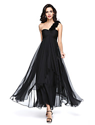 cheap -A-Line One Shoulder Ankle Length Chiffon Formal Evening Dress with Flower(s) Ruching Pleats by TS Couture®
