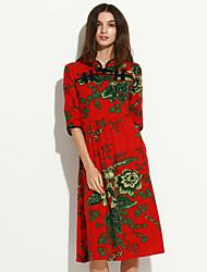 Largo / Fodero Vestito Da donna-Casual Romantico / Moda città Fantasia floreale Colletto alla coreana Medio Maniche a ¾ Blu / Rosso Cotone