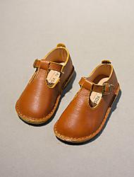 Para Meninas Bebê Sapatos Couro Outono Rasos Rasteiro Presilha Para Casual Preto Amarelo Vermelho