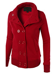 Women's Daily Casual Hoodie Jacket Solid Round Neck Micro-elastic Cotton Long Sleeve Fall