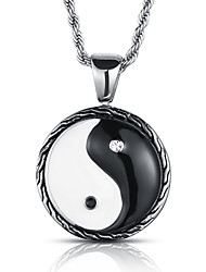 Men's Punk Style Pendant Charm Necklace 316L Stainless Steel Retro Black White Jewelry