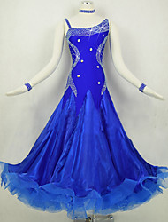 cheap -Ballroom Dance Dresses Women's Performance Spandex Organza Crystals/Rhinestones Splicing 1 Piece Long Sleeve Natural Dress