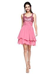 baratos -Linha A Curto / Mini Chiffon Paetês Coquetel Baile de Formatura Vestido com Faixa / Fita Franzido Franja(s) de TS Couture®