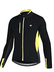 SANTIC Cycling Jacket Men's Bike Jacket Winter Jacket Insulated Breathable 100% Polyester Patchwork Leisure Sports Cycling/Bike Running