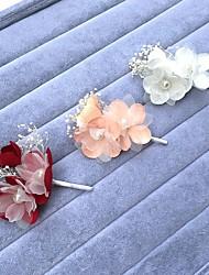 baratos -Chifon Pérola Liga Pentes de cabelo Flores Decoração de Cabelo Pino de cabelo with Floral 1pç Casamento Ocasião Especial Capacete