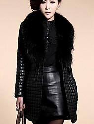 Women's Plus Size / Casual/Daily Simple Fur Coat,Solid Long Sleeve Black Faux Fur