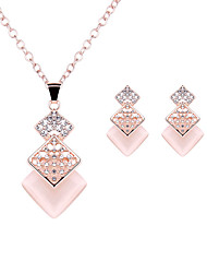 cheap -Women's Imitation Diamond Jewelry Set 1 Necklace / 1 Pair of Earrings - Luxury / Fashion Square / Geometric Rose Gold For Wedding / Party