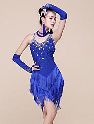 abordables -Danse latine Robes Femme Utilisation Spandex Fibre de Lait Billes Gland Sans Manches Taille moyenne Robe