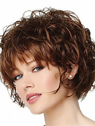cheap -Short Curly Fluffy Full Side Bang Synthetic Wigs Brown Heat Resistant Wig