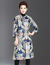 cheap -1898 Women's Plus Size / Daily Chinoiserie CoatJacquard Stand Long Sleeve Winter Blue Polyester