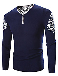 Men's Plus Size Simple Regular Pullover,Print Blue V Neck Long Sleeve Polyester Winter Thick Micro-elastic