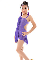 Belly Dance Leotards Children's Performance Polyester Tassel(s) Polka Dots 1 Piece Sleeveless Natural Leotard