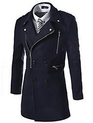 Недорогие -Мужчины На каждый день Однотонный Пальто Рубашечный воротник,Простое Осень / Зима Синий / Бежевый / Черный / Зеленый Длинный рукав,Шерсть,