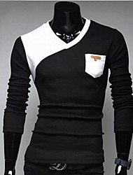 cheap -Men's Patchwork Black/White T-shirt,Casual V Neck Long Sleeve Pocket