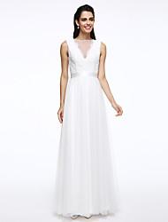 baratos -Linha A Bateau Neck Longo Renda / Tule Vestidos de casamento feitos à medida com Faixa / Fita / Botão de LAN TING BRIDE® / Transparências