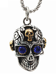 cheap -Men's Punk Style Pendant Charm Necklace 316L Stainless Steel Retro Carving Skull Shape Blue Gem Jewelry