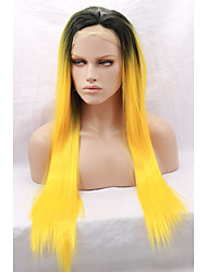 cheap -synthetic hair dark roots ombre orange yellow wig for african american women straight synthetic glueless lace front wigs heat ok