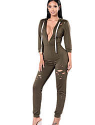 Women's Slim JumpsuitsCasual/Daily / Club Sexy / Simple Solid Cut Out Hooded Long Sleeve Mid Rise  Micro-elastic Spring / Fall