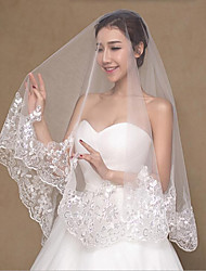 cheap -Two-tier Wedding Veil Fingertip Veils With Lace