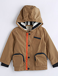 cheap -Boys' Daily Solid Jacket & Coat, Cotton Winter Fall Long Sleeves Light Brown