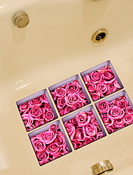 Pink Rose 3D Bathroom Non-Slip Stickers The Floor Tile Individuality Decorative Stickers